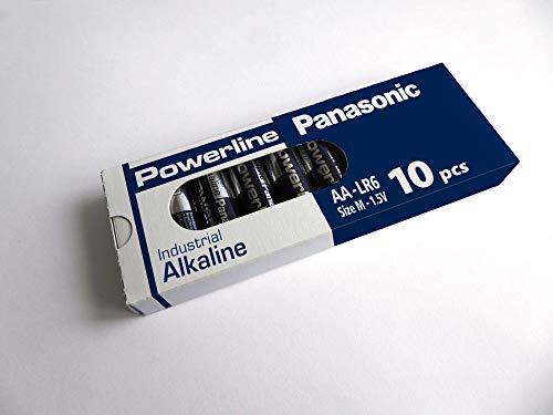 10x Mignon AA LR6 MN1500 batterij Alkaline PANASONIC Powerline Industrial 3133mAh