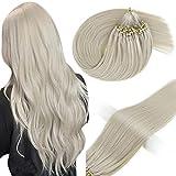 Vivien Blonde Microlink Hair Extensions Human Hair 18in Platinum Blonde Real Human Hair Micro Loop Extension Invisible Micro Beads Hair Extensions Remy Human Hair Straight 50gram 1g/s