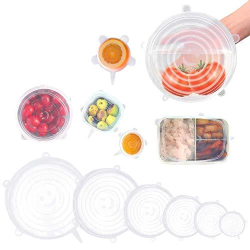 ACAMPTAR Siliconen Stretch Deksels, 12 Pack om voedsel fris, herbruikbaar, duurzaam en uitbreidbaar te passen verschillende maten voor Bowl Covers, potten en pannen in Vaatwasser, Magnetron en diepvriezer