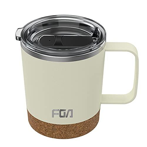 FGA Thermobecher Kaffeebecher to go Edelstahl Travel Mug 400ml Isolierbecher BPA-frei Reisebecher für heiße und kalte Getränke Elfenbein