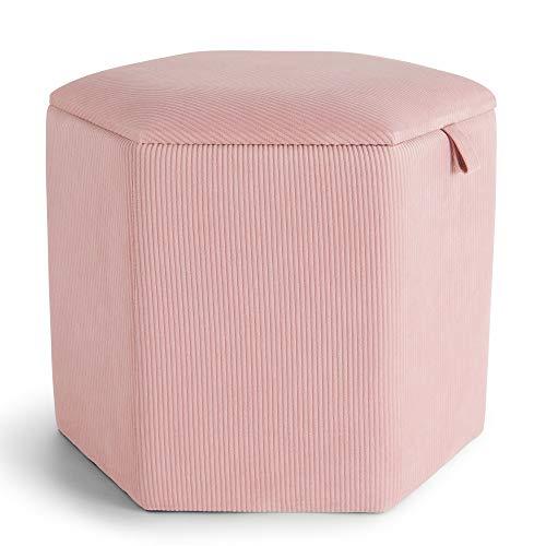 Beautify Sgabello Contenitore Esagonale Rosa in Velluto a Coste - Corda - Pouf Seduta Poggiapiedi - Per Spogliatoio, Soggiorno, Camera da Letto