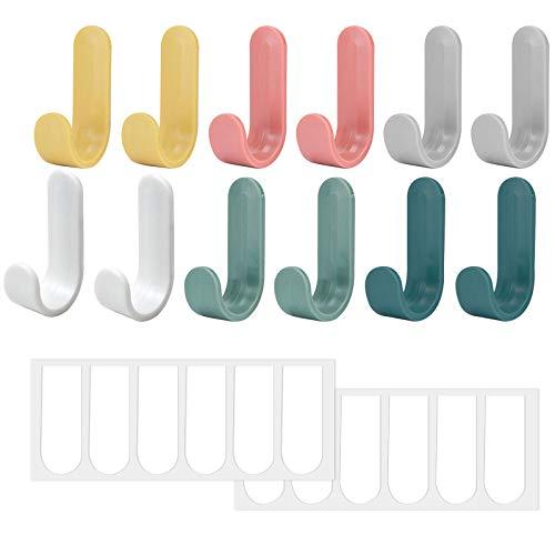 12Pcs Ganchos de Pared Adhesivo, Perchero Colorido Colgador de Toallas, Ganchos Adhesivos de Plástico Resistentes, Ganchos para Colgar sin Taladro Adecuado para Baños, Dormitorios, Cocina, Puerta