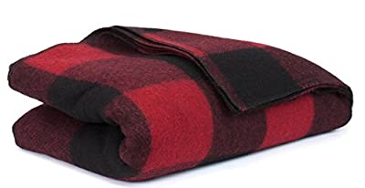 Bunkhouse Plaid Wool Blankets #NW-WBASBHP 80 x 62 Inches Twin Size - Machine Washable Red/Black Plaid