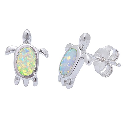 Created Opal Turtle Stud .925 Sterling Silver Earrings (Lab Created White Opal)