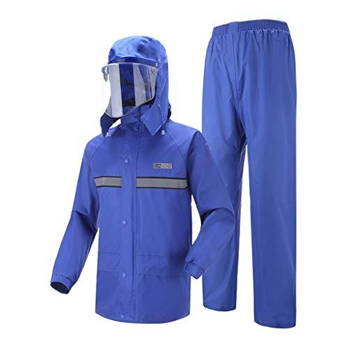 Regenkleding Reflecterende Mannen regenbroek Raincoat Verdikte Waterproof Motorcycle Hiking Regenkleding Adult Rain Poncho,Blue,XXXXL