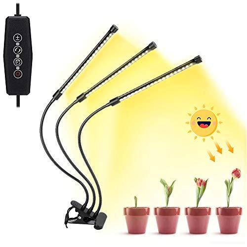 Haofy Vollspektrum Pflanzenlampe, 30W Triple Head 57 LEDs Pflanzenlicht für Zimmerpflanzen, Professionelles Sonnenlicht wachsen Lampe   Pflanzenleuchte mit Auto ON/Off & Reservierungsstartfunktion