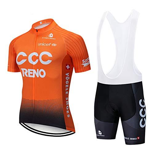 ADKE Maillot Ciclismo Hombre, Camiseta y Pantalones Cortos Babero Mangas Cortas Culotte Pantalones Acolchado 3D para Deportes al Aire Libre Ciclo Bicicleta Ciclismo Ropa (3C-ORG, L)