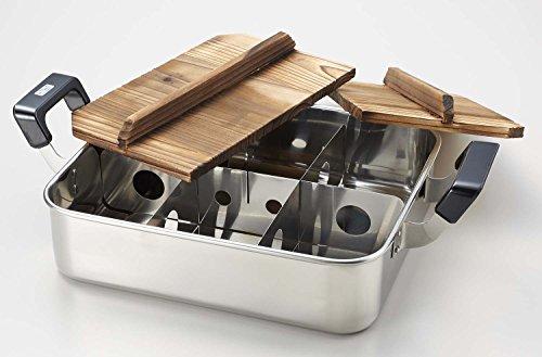 だんらんステンレス製木蓋付角型おでん鍋28×24cm仕切板付H-4827