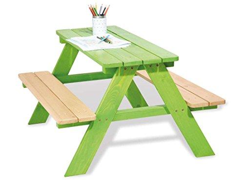 Table en bois 4 places avec bancs Nicky vert