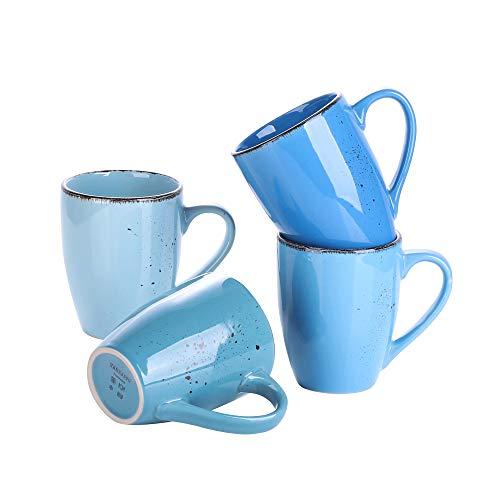 vancasso Serie Navia Oceano Tazas de Desayuno 4 Piezas, Juego de Tazas de Café, Leche, Gres Retro Colores