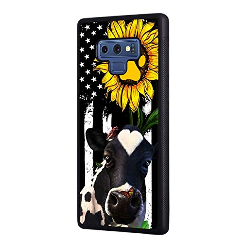 Galaxy Note 9 Case, Slim Anti-Scratch Shockproof Rubber Protective Cover for Samsung Galaxy Note 9,American Flag Sunflower and Cow