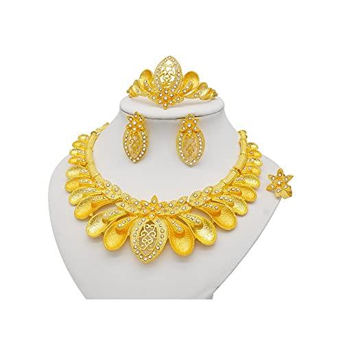 XiaoG Conjunto de joyería de Boda Africano de Dubai Gold-Color Africano Joyería, Collar (Color : BJ992)