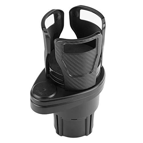カーカップホルダーエキスパンダー車載ウォーターカップドリンクホルダーカーボンファイバー360°回転デュアルカップマウントソフトドリンク缶コーヒーボトルスタンド、車用ユニバーサル取り外し可能ウォーターボトルホルダー