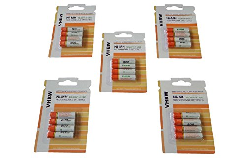 vhbw 20 x AAA, Micro, R3, HR03 Akku 800mAh passend für Panasonic KX-TG5521, KX-TG6422, KX-TG6422G, KX-TG6521, KX-TG6521G, KX-TG6521GB, KX-TG6522