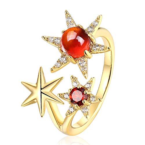 Anillo de compromiso para mujer, de plata de ley 925, ajustable, de 6 estrellas,...