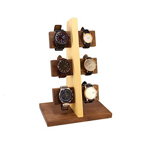 Wood Spot Uhrenständer für 6 Uhren Walnussholz-Ahornholz, Echtholz, Uhrenhalter aus Premium-qualität Hölzer, Handgefertigt, Natur, Praktische Lösung für Solaruhren, Geschenke für Männer