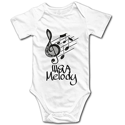 Música Nota Raya Bebé Ropa De Manga Corta Babysuit Divertido Unisex Chaleco Recién Nacido Mameluco