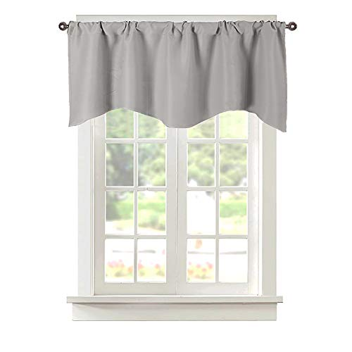 Popuid Rural Valances Curtains Topper for Small Window Rod Pocket Decorative Valance Kitchen Kids Girls Room 52x18 Inch (Light Grey, 52)
