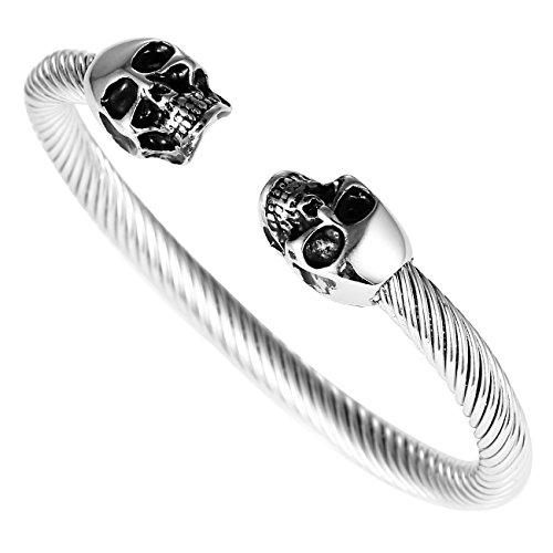 DonDon Armband-Ring aus Edelstahl mit Totenköpfen