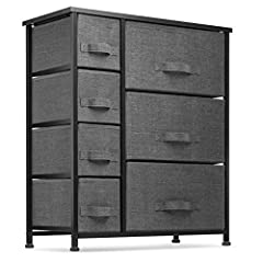 7 Drawer fabric storage organizer for closets, bedrooms, playrooms, and more Sturdy steel frame wood top with smooth finish Soft fabric drawers with Easy pull-out fabric handles Adjustable-height plastic feet to prevent wobbling and floor damage Meas...