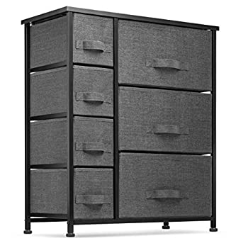 7 Drawers Dresser - Furniture Storage Tower Unit for Bedroom Hallway Closet Office Organization - Steel Frame Wood Top Easy Pull Fabric Bins Black/Charcoal