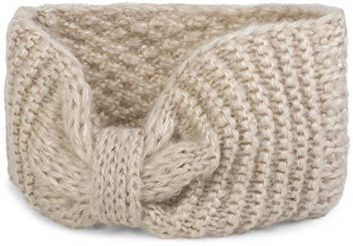 styleBREAKER Dameshoofdband met strik, rijstkorrelpatroon, winterhaarband, hoofdband 04026006