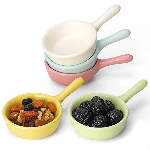 Premium Plato de Salsa con Asa Cuencos para Aperitivos Pequeños Juego de 5 Cuencos Cocina Ceramica de Colores para Soja/Tapas, 46ml