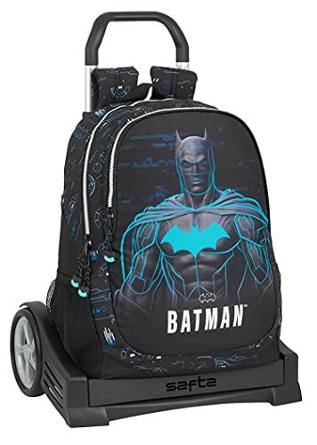 Safta Mochila Espalda Ergonómica con Carro Evolution de Batman Bat-Tech, 320x160x440 mm, Negro