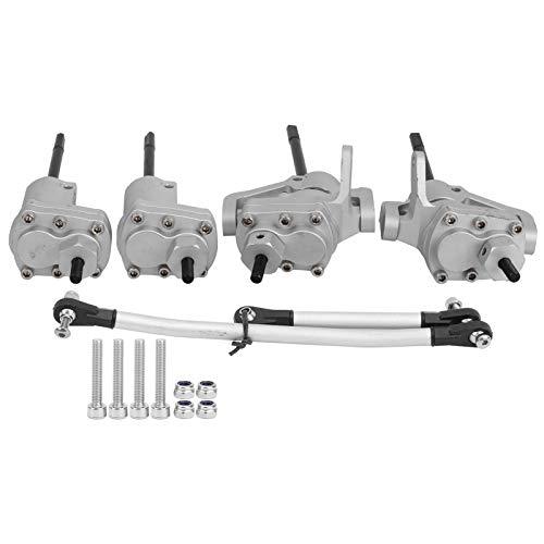Cocosity Eje Trasero RC, Engranajes de Metal Eje RC, Carcasa de aleación de Aluminio Duradera Fácil de Instalar para Coche de Control Remoto Axial SCX10 Generación II 90046(Silver)