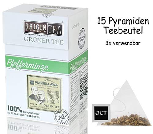 Origin Ceylon Tea Pfefferminze Grüner Tee 15 Pyramiden-Teebeutel direkt von der Plantage aus Sri Lanka