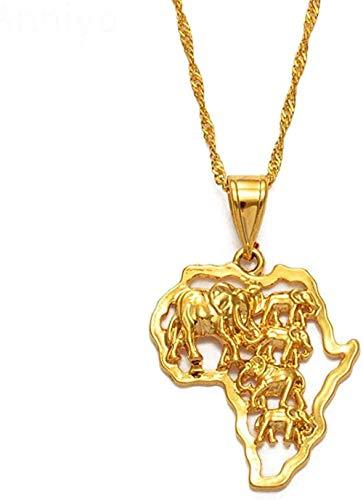 Zaaqio Collar Mapa de África Collar Color Dorado Elefante Mapa Africano Colgante Cadena Mujeres/Hombres Joyería etíope Nigeria #