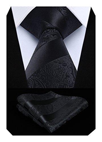 HISDERN Extra lange Blumen Paislry Krawatte Taschentuch Herren Krawatte & Pocket Square Set (Schwarz)