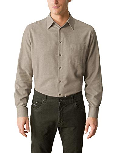 Walbusch Herren Hemd Thermoflanell Softmelange einfarbig Beige 45-46 - Langarm