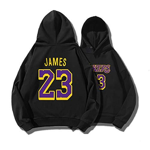 QYAD James # 23 - Sudadera con capucha y diseño de camiseta de baloncesto, ideal como regalo negro 175 cm/60/70KG