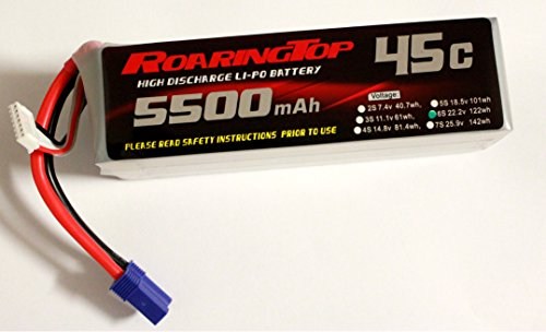 RoaringTop LiPo Battery Pack 45C 5500mAh 6S 22.2V with EC5 Plug for RC Car Boat Truck Heli Airplane