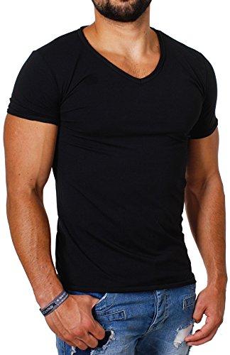CARISMA Herren Uni Basic T-Shirt mit tiefem V-Ausschnitt Vintage Look Kragen Effekt einfarbig Dehnbare Passform, Grösse:L, Farbe:Schwarz