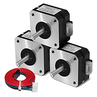Usongshine Nema 17 Stepper Motor Bipolar Step Motor for Titan Extruder 3D Printer 4.1V 1A 13Ncm (18.4oz.in) 4 Lead 1.8 Deg with 1m Cable (17HS4023 Pack of 3)