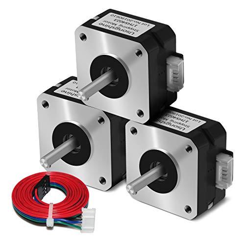 Usongshine Nema 17 Stepper Motor Bipolar Step Motor for Titan Extruder 3D Printer 4.1V 1A 13Ncm (18.4oz.in) 4 Lead 1.8 Deg with 1m Cable (17HS4023 Pack of 3)