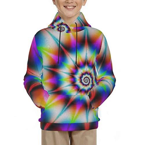 Jungen Hoodie, Schwarz Langarm Cool Sweat Shirts Geschenke-Psychedelic Tie Dye L 14-16 Jahre
