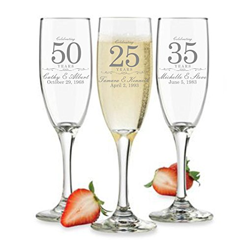 Customized Anniversary Champagne Flutes or Wine Glasses - Set of 2 -...