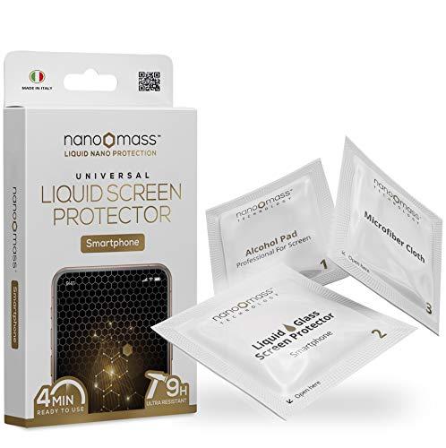 NANOMASS, Liquido Protezione Schermo Smartphone e Smartwatch, Trattamento Oleofobico, Antibatterico, AntiGraffio, Antiurto Universale per Cellulare