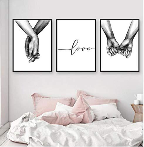 quadri moderni soggiorno love jjshily Nordic Poster Tenersi per Mano in Bianco e Nero 3 Pezzi Stampe su Tela Amante Quadri Immagini per Soggiorno Decorazioni per la Camera da Letto Senza Cornice
