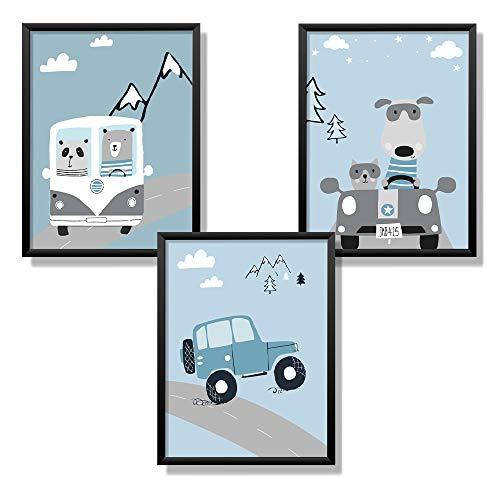 Kindsblick® 3er Set Poster für Kinderzimmer - DIN A4 Kinderposter für Jungen & Mädchen - Motiv: Tolle Autos - Hellblau - Wunderschöne Deko für jedes Kinderzimmer