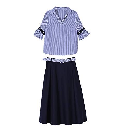 Fairly tops Blusa de Perlas a Rayas con Flecos hasta la Rodilla, Elegante Juego, Azul, M