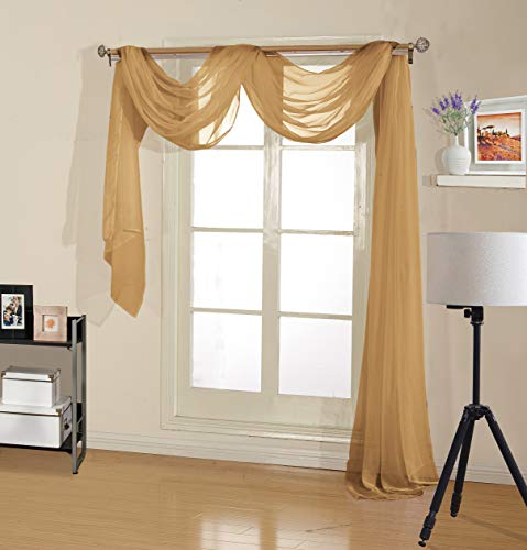 """Decotex Premium Quality Sheer Voile Scarf Valance for Home & Event Designs (54"""" X 216"""", Gold)"""