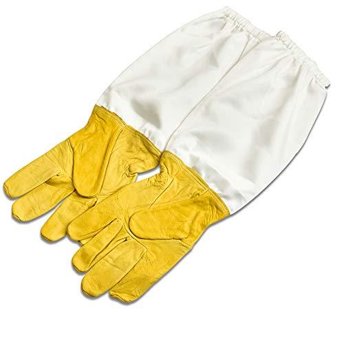 1 par de guantes de piel de cabra, guantes de algodón, guantes de trabajo de protección de manga larga, equipo de apicultura (amarillo)