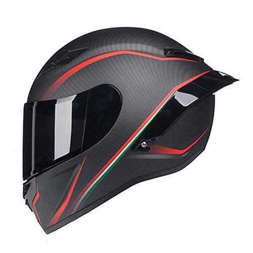 Woljay Integralhelm Helm Motorradhelm Motocross Offroad Moto Street Helme Fahrrad Helme (M, Kohlefaser Rot u Schwarz Matte)