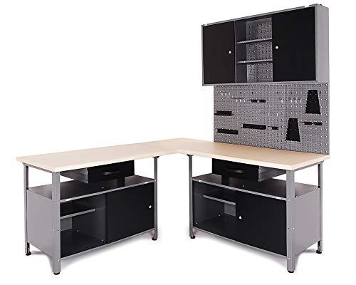 Ondis24 Werkstatt Set Ecklösung Classic One, Werkbank, 180 cm Holzarbeitsplatte, Werkzeugschrank, Werkzeugwand Lochwand, Haken Set, Metall (Arbeitshöhe 85cm, schwarz)