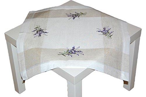 TISCHDECKE Leinenoptik Natur Lavendel mediterran Decke eckig Landhaus (Mitteldecke 60x60 cm)