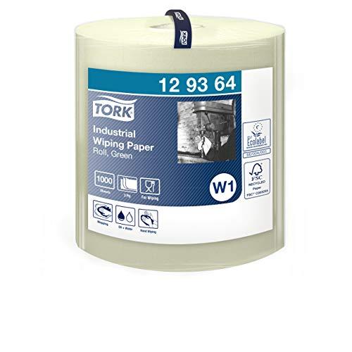 Tork 129364 Industrie Papierwischtücher für W1 Bodenständer- und Wandhalter-System / 3-lagige Putzrolle in Grün / Advanced Qualität / 1 x 340 m